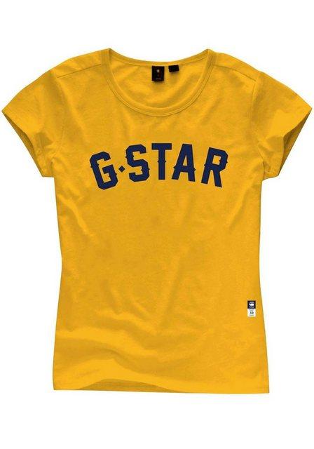 Damen G-Star RAW Rundhalsshirt mit Frontdruck gelb | 08719369471360