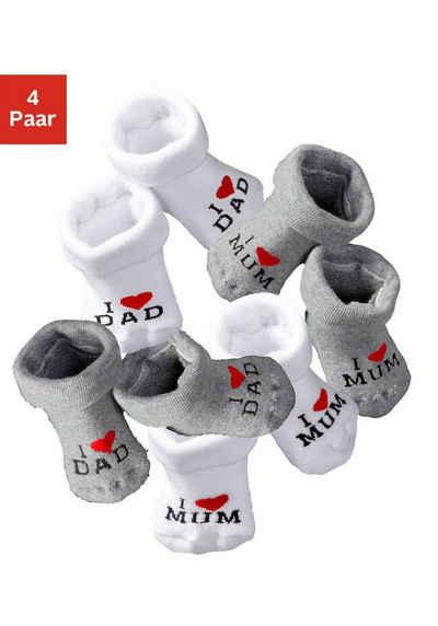 Vivance Umschlagsocken »I Love Mum, I Love Dad« (4-Paar) mit Umschlagbündchen