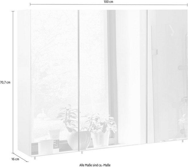 Spiegel - Schildmeyer Spiegelschrank »Basic« Breite 100 cm, 3 türig, Glaseinlegeböden, Made in Germany  - Onlineshop OTTO