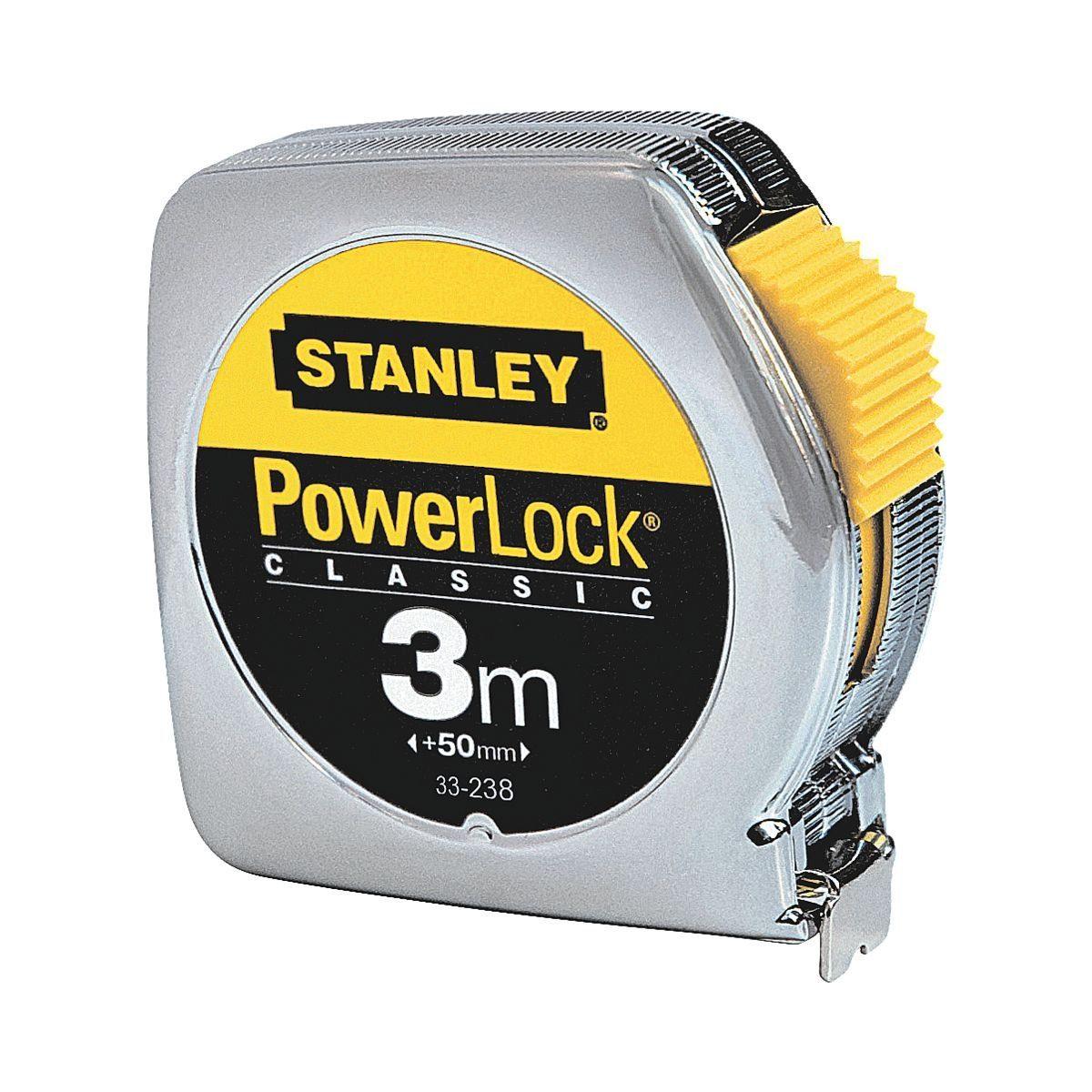 STANLEY Bandmaß 3 m verchromtes Kunststoffgehäuse »Powerlock«