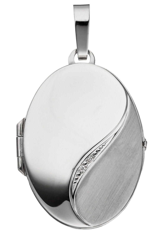 JOBO Medallionanhänger oval 585 Weißgold mit 2 Diamanten