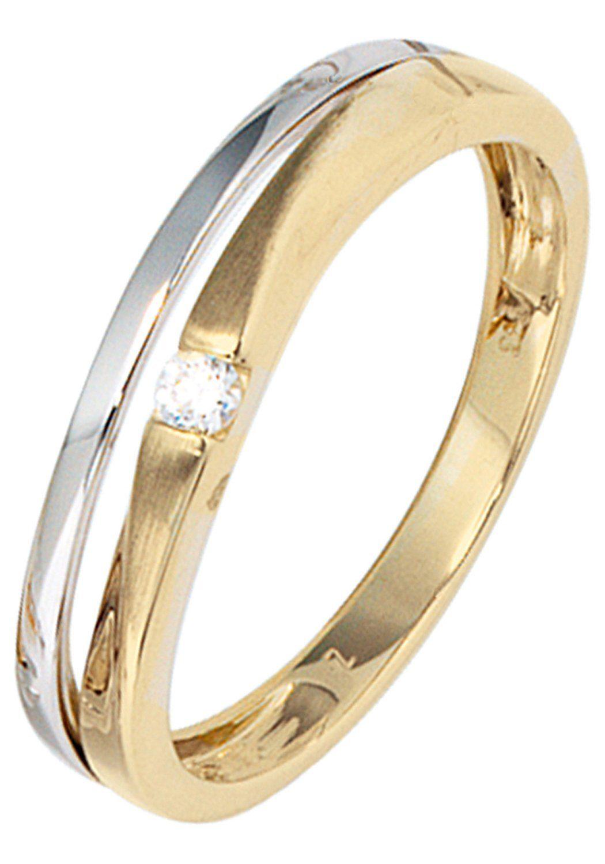 Ring Damenring aus 333 Gold Gelbgold teilmattiert Zirkonia Goldring