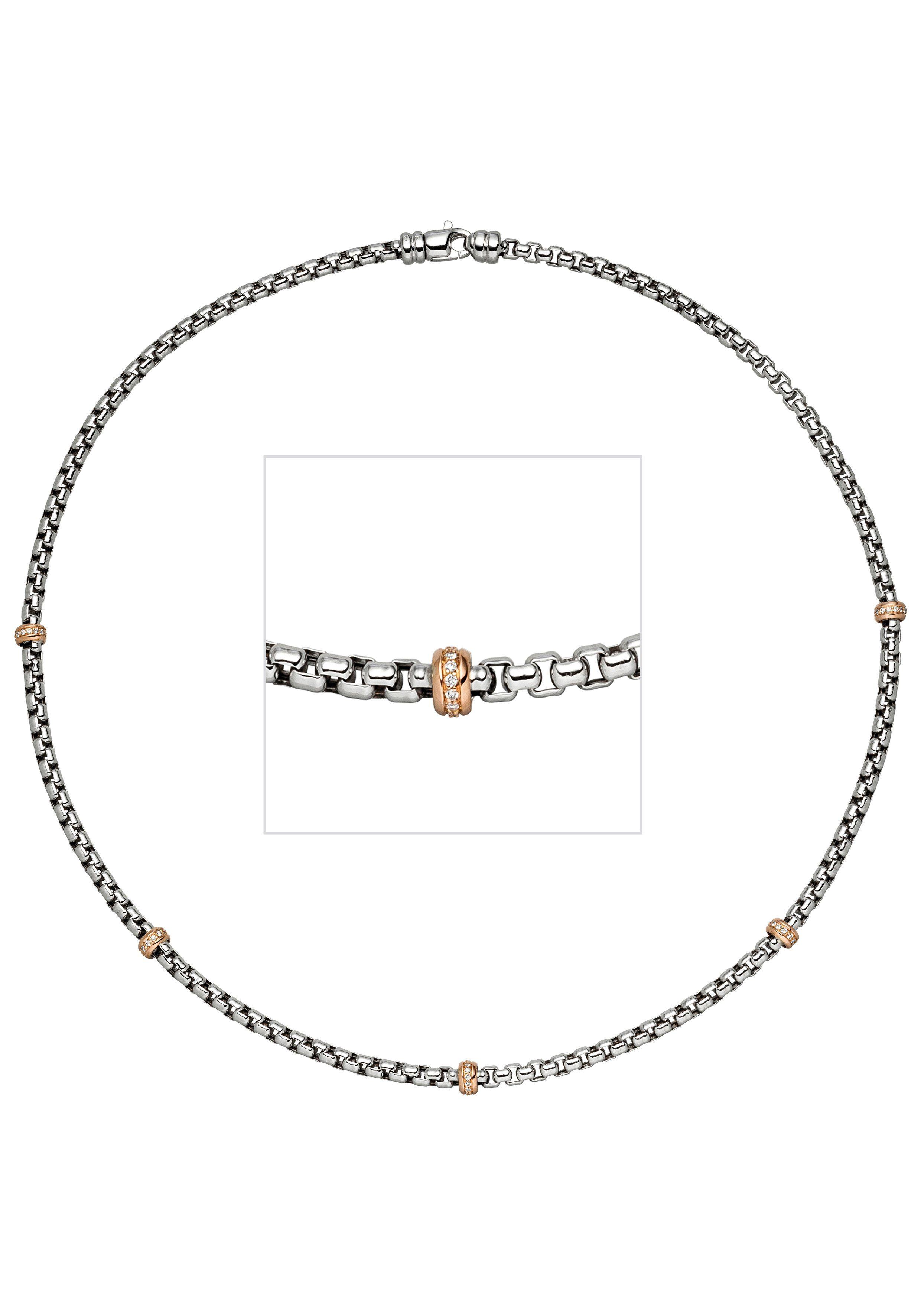 JOBO Collier 585 Gold bicolor mit 65 Diamanten 45 cm