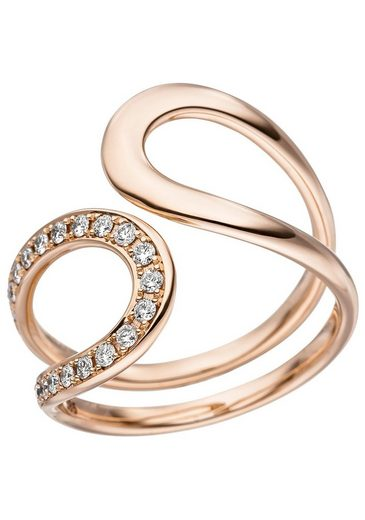 JOBO Diamantring, 585 Roségold mit 21 Diamanten