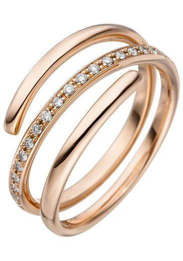 JOBO Diamantring 585 Roségold mit 20 Diamanten
