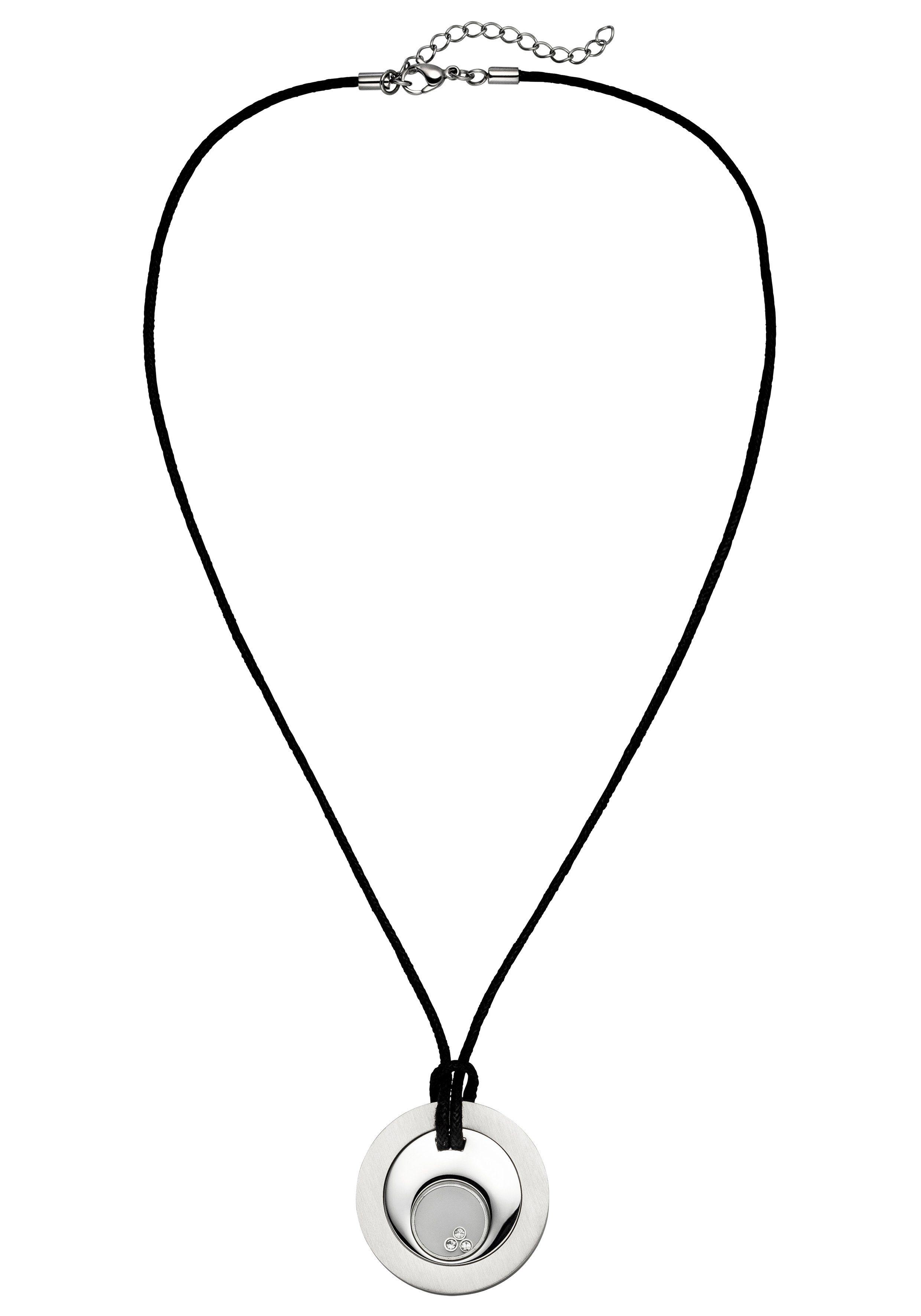 JOBO Kette mit Anhänger Edelstahl mit Kristallen 56 cm
