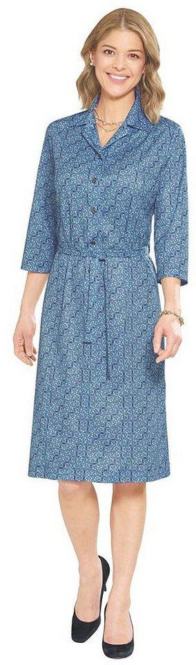 Damen Classic Basics Jersey-Kleid mit frischem Druck blau | 05425023246696