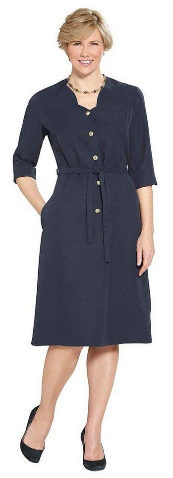 Damen Classic Basics Kleid mit goldfarbenen Schmuckknöpfen blau | 05425023246993