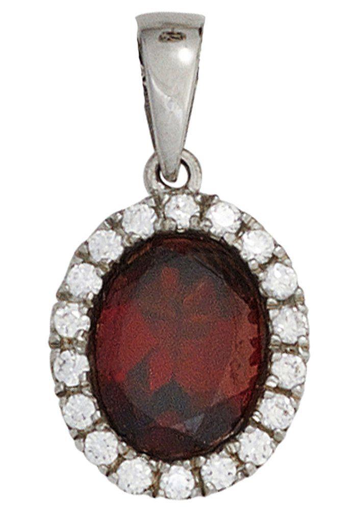 JOBO Kettenanhänger oval 925 Silber mit Granat und Zirkonia