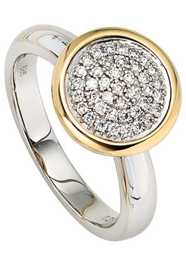 JOBO Diamantring 585 Gold bicolor mit 40 Diamanten
