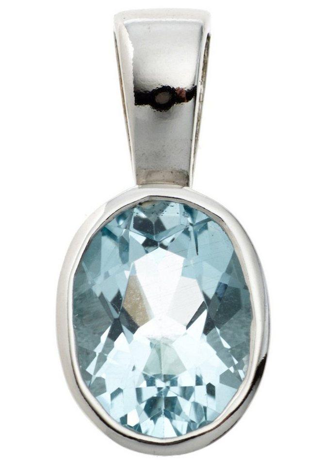 JOBO Kettenanhänger oval 925 Silber mit Blautopas | Schmuck > Halsketten > Ketten ohne Anhänger | JOBO