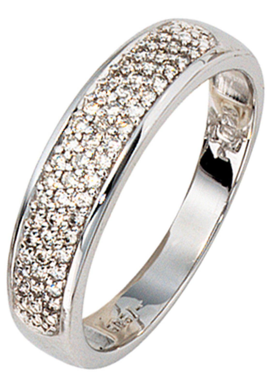 JOBO Diamantring 585 Weißgold mit 50 Diamanten