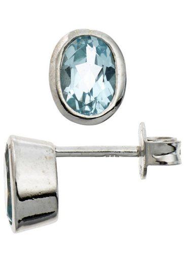 JOBO Paar Ohrstecker, oval 925 Silber mit Blautopas