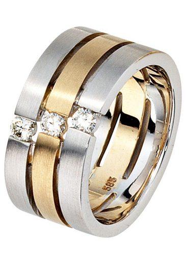 JOBO Diamantring breit 585 Gold bicolor mit 3 Diamanten