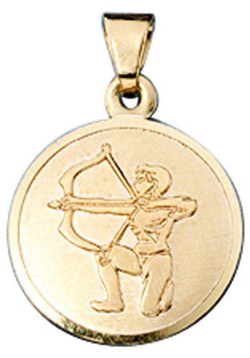 JOBO Sternzeichenanhänger, Sternzeichen Schütze 333 Gold