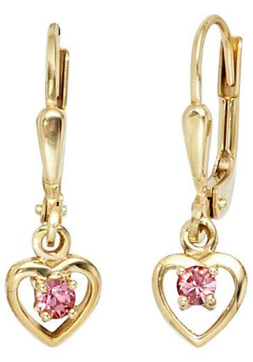 JOBO Paar Ohrhänger, Herz 333 Gold mit Glassteinen