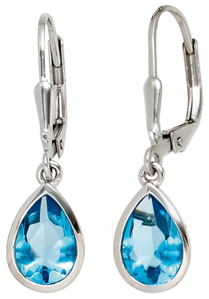 JOBO Paar Ohrhänger Tropfen 925 Silber mit Zirkonia