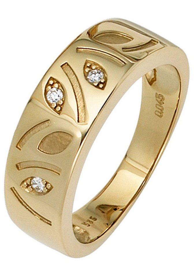 JOBO Diamantring 585 Gold mit 3 Diamanten