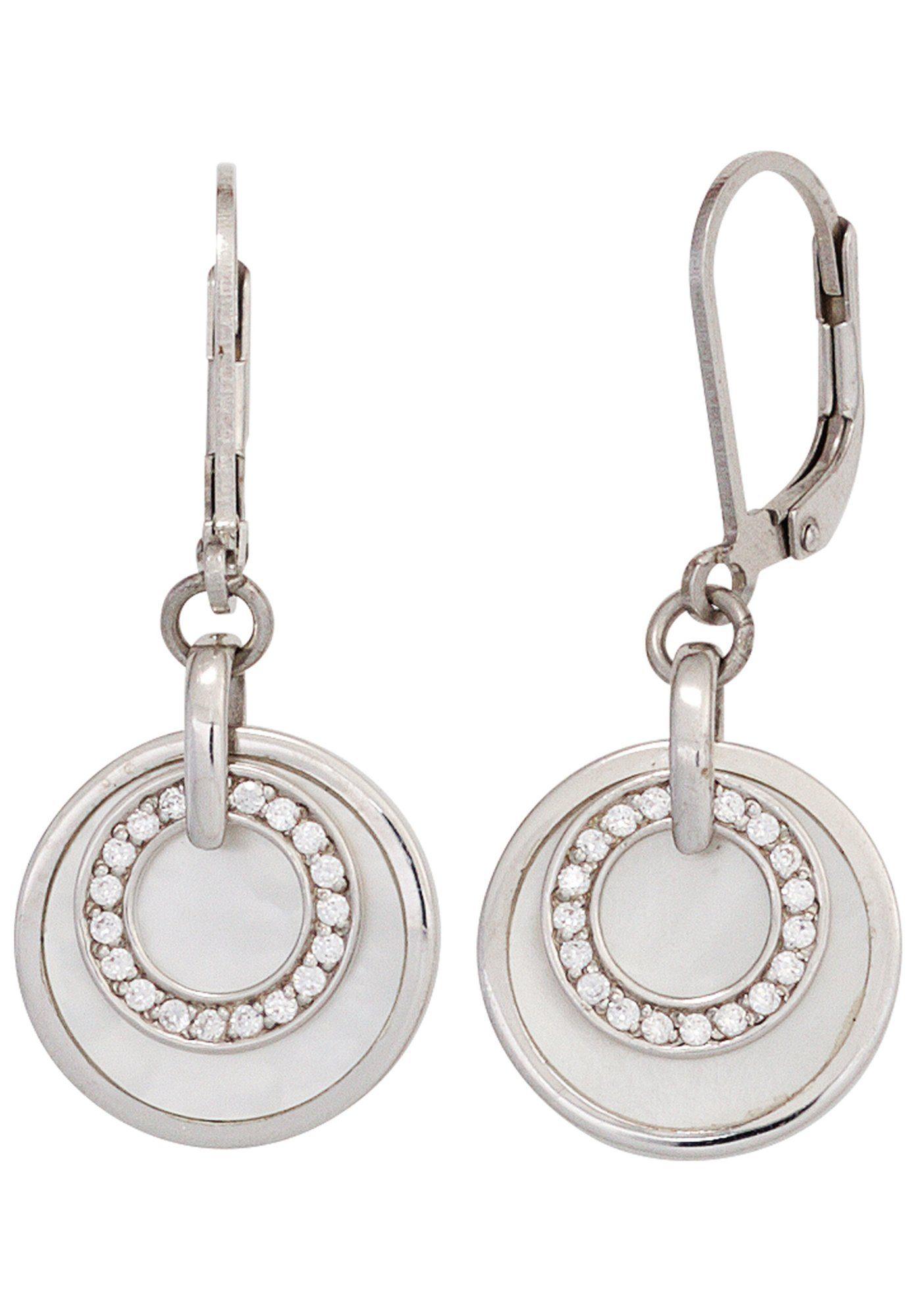 JOBO Paar Ohrhänger rund 925 Silber mit Perlmutt und Zirkonia