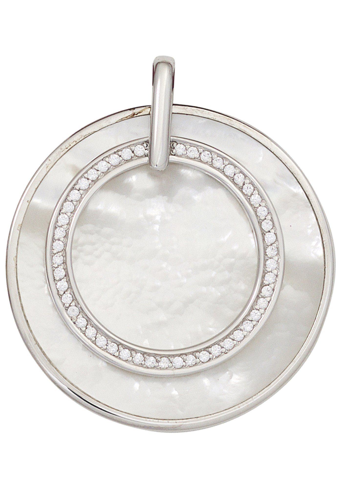 JOBO Runder Anhänger rund 925 Silber mit Perlmutt und Zirkonia