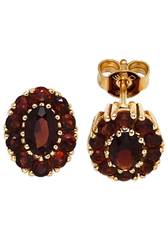 JOBO Paar Ohrstecker oval 375 Gold mit Granat