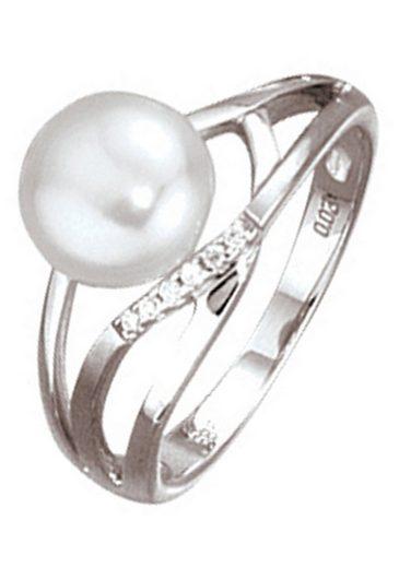 JOBO Diamantring, 585 Weißgold mit Perle und 6 Diamanten