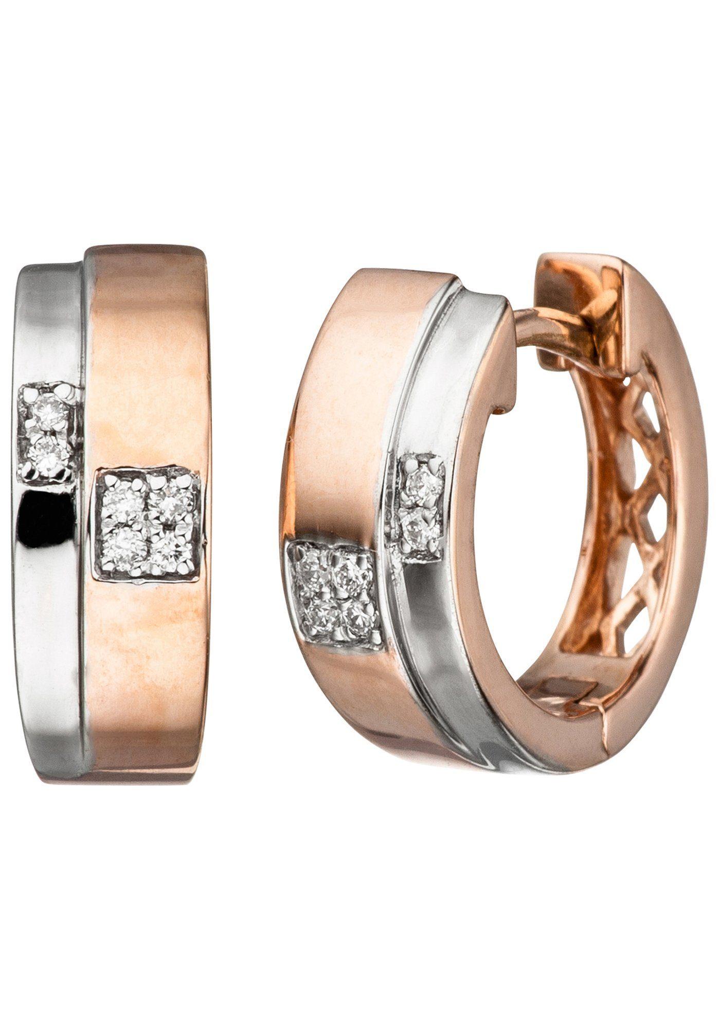 JOBO Paar Creolen 585 Roségold bicolor mit 12 Diamanten