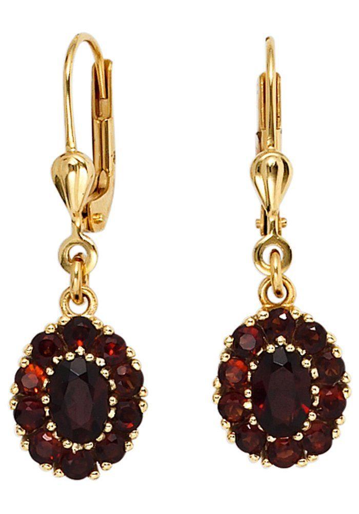 JOBO Paar Ohrhänger 375 Gold mit Granat