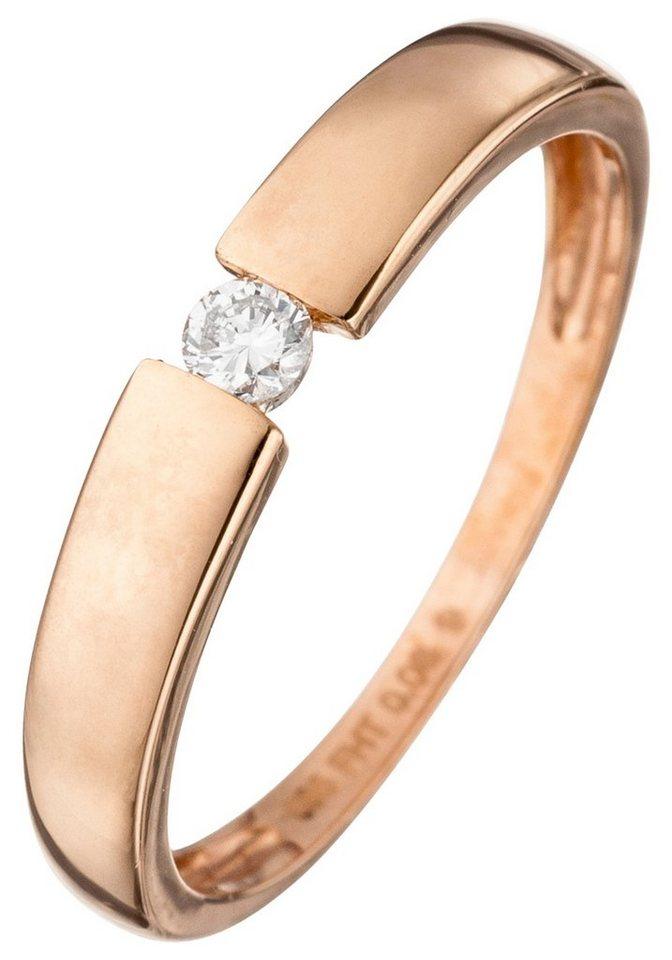 JOBO Solitärring 585 Roségold mit Diamant 0,08 ct.   Schmuck > Ringe > Solitär Ringe   Goldfarben   Si   JOBO