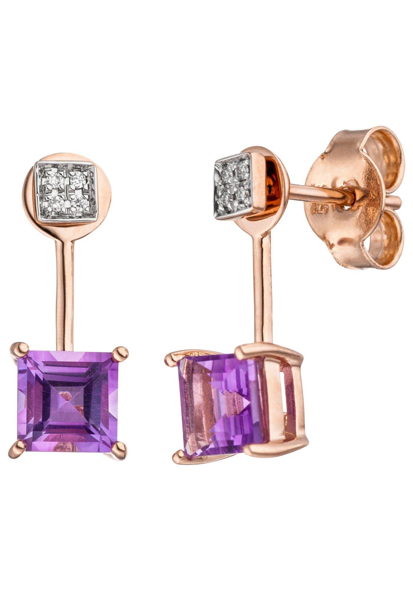 JOBO Paar Ohrhänger 585 Roségold bicolor mit 8 Diamanten und Amethyst