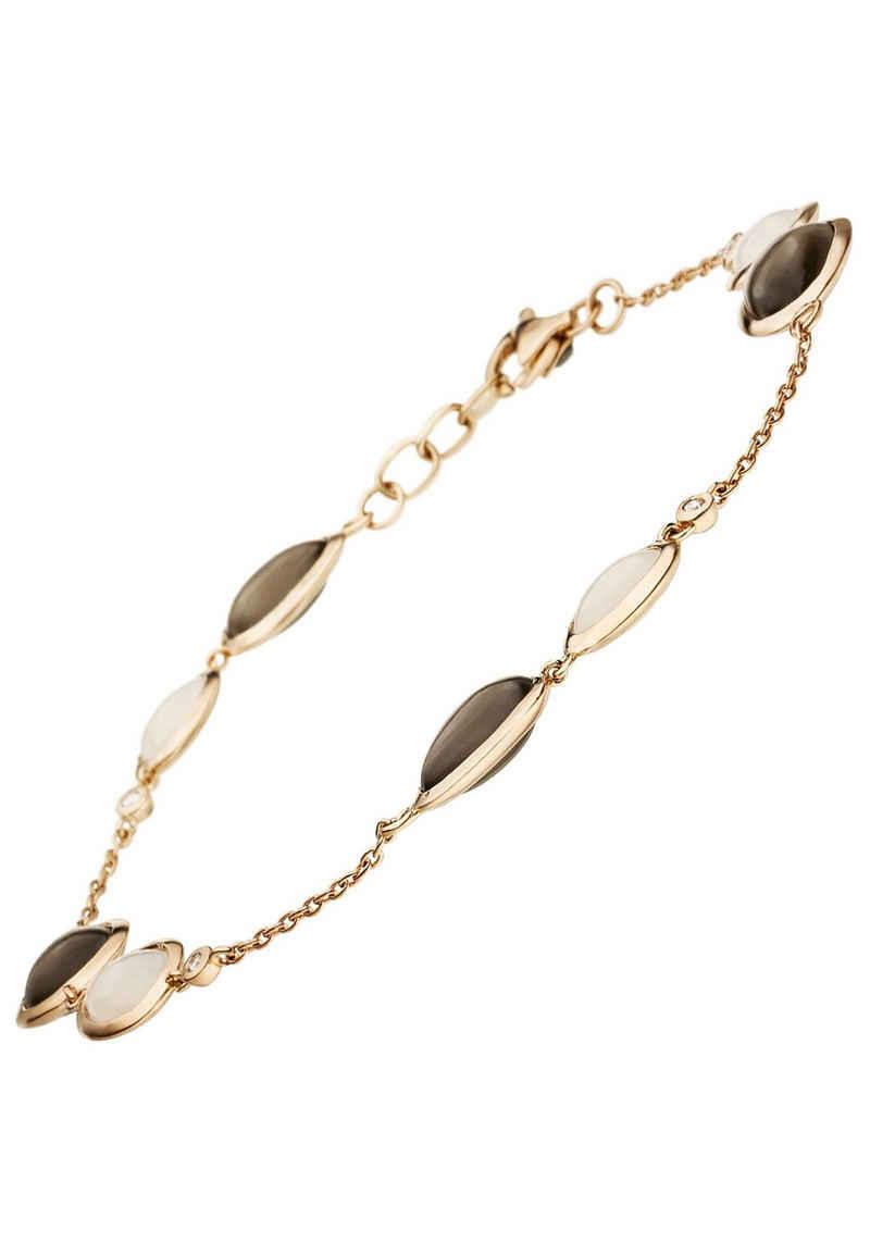 JOBO Goldarmband, 585 Roségold mit 4 Diamanten und Mondstein 21 cm