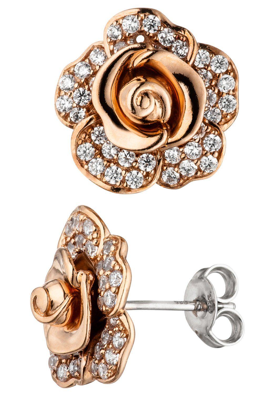 JOBO Paar Ohrstecker »Blume« 925 Silber roségold vergoldet mit Zirkonia