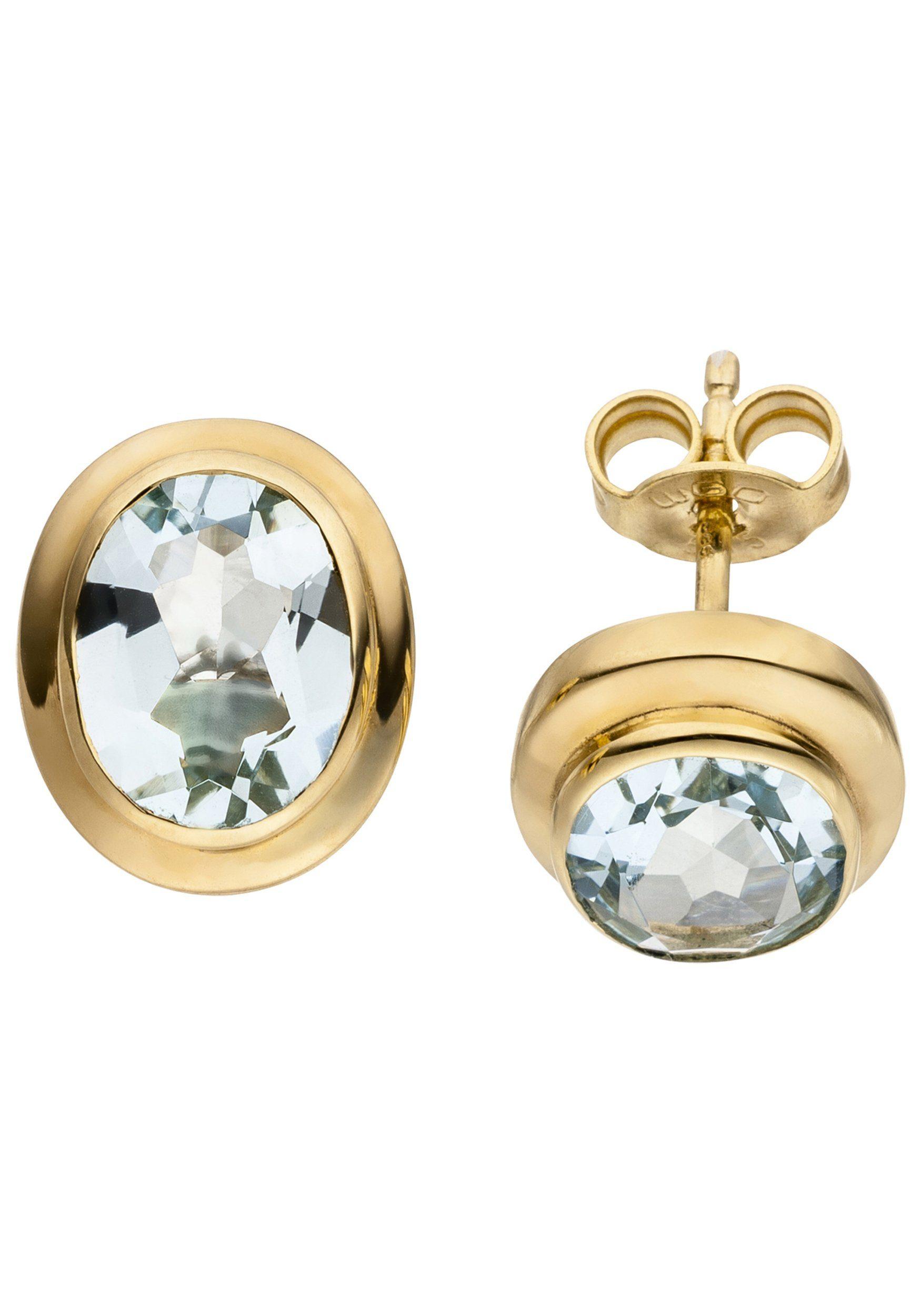 JOBO Paar Ohrstecker oval 585 Gold mit Aquamarin