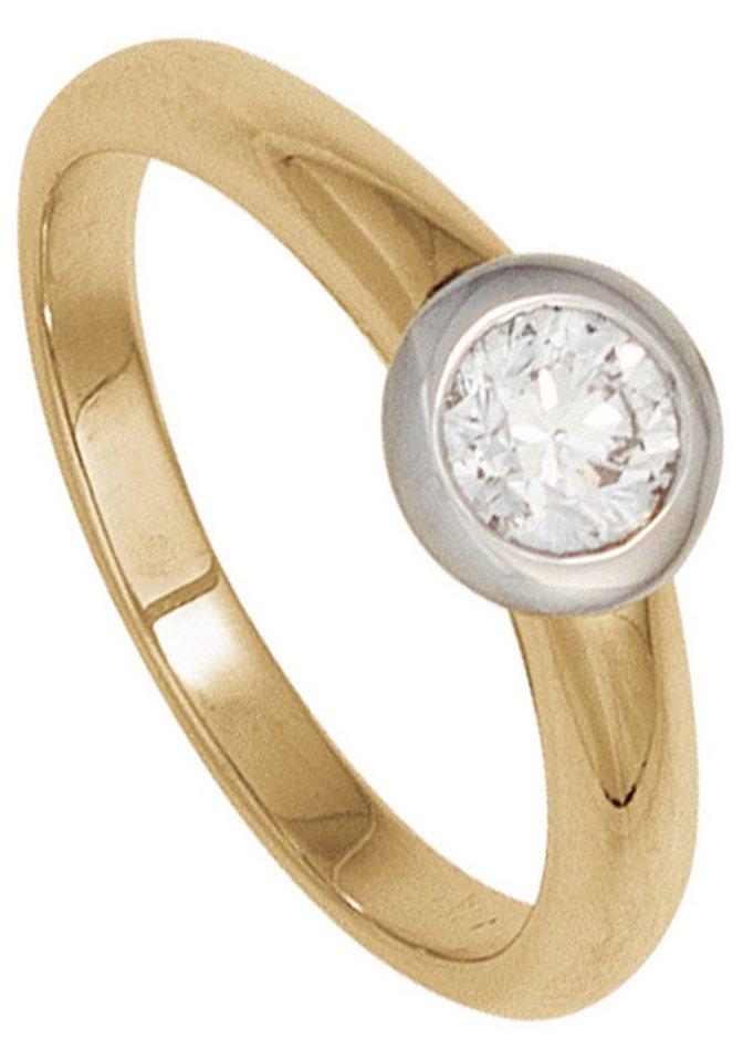 JOBO Solitärring 585 Gelbgold Weißgold mit 1 Diamant | Schmuck > Ringe > Solitär Ringe | Goldfarben | Si | JOBO