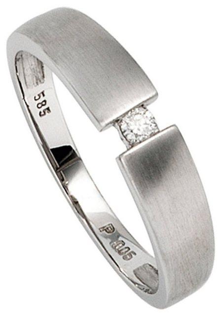 JOBO Solitärring, 585 Weißgold mit Diamant 0,05 ct. | Schmuck > Ringe > Solitär Ringe | Jobo