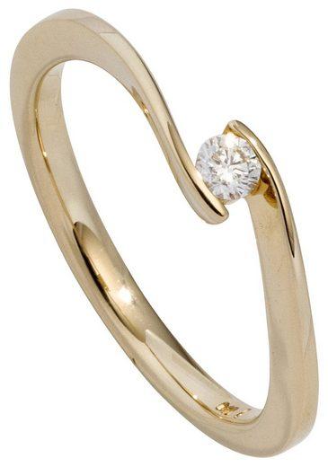 JOBO Solitärring 585 Gold mit Diamant 0,15 ct.