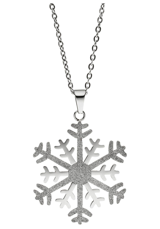 JOBO Kette mit Anhänger »Schneeflocke«, Edelstahl bicolor 42 cm 46 cm online kaufen   OTTO
