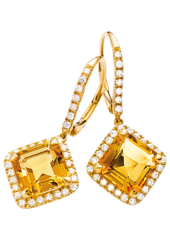JOBO Paar Ohrhänger 750 Gold mit 62 Diamanten und Citrin