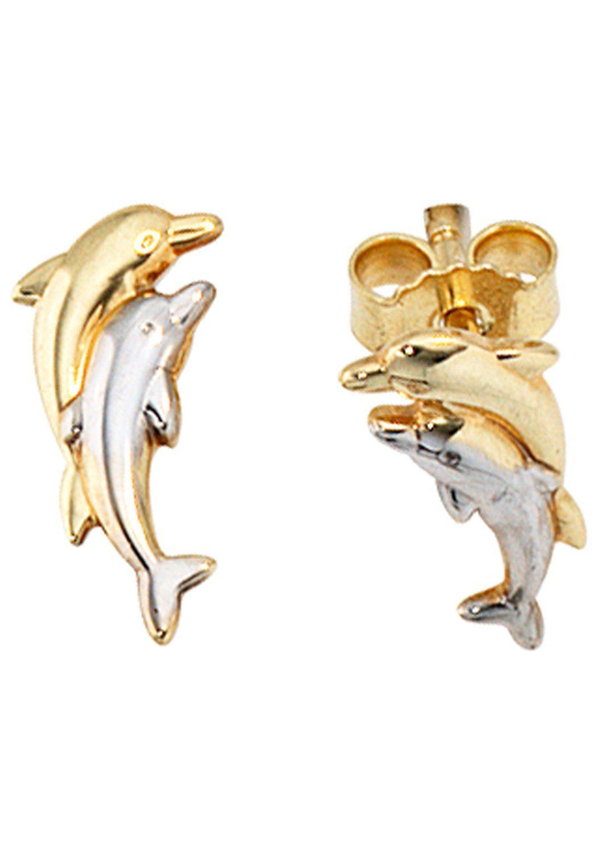 JOBO Paar Ohrstecker »Delfine« 333 Gold bicolor