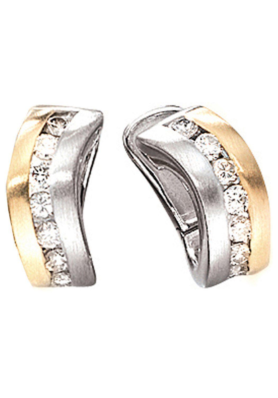 JOBO Paar Creolen 585 Gold bicolor mit 16 Diamanten