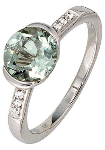 JOBO Diamantring, 585 Weißgold mit Amethyst und 6 Diamanten