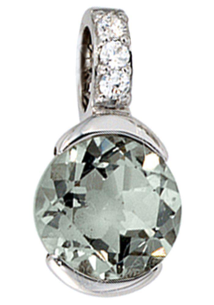 JOBO Kettenanhänger 585 Weißgold mit 3 Diamanten und Amethyst