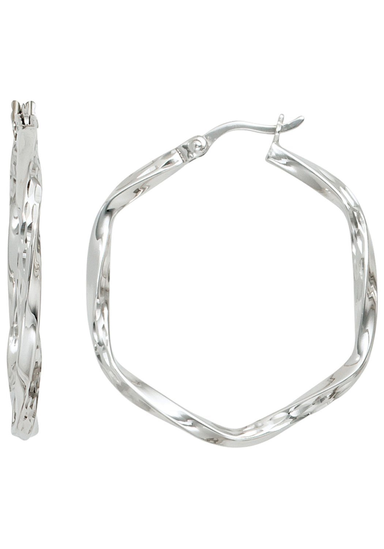 Ohrringe KLAPPCREOLEN Silber 925 Creolen viereck 3,2MM breit Ohrschmuck