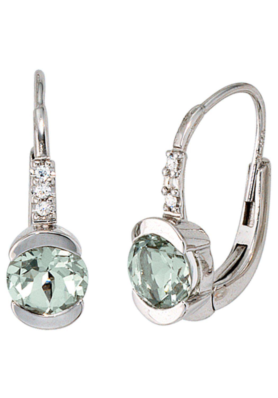 JOBO Paar Ohrhänger 585 Weißgold mit 6 Diamanten und Amethyst