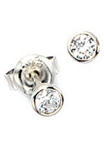 JOBO Paar Ohrstecker, rund 925 Silber mit Zirkonia