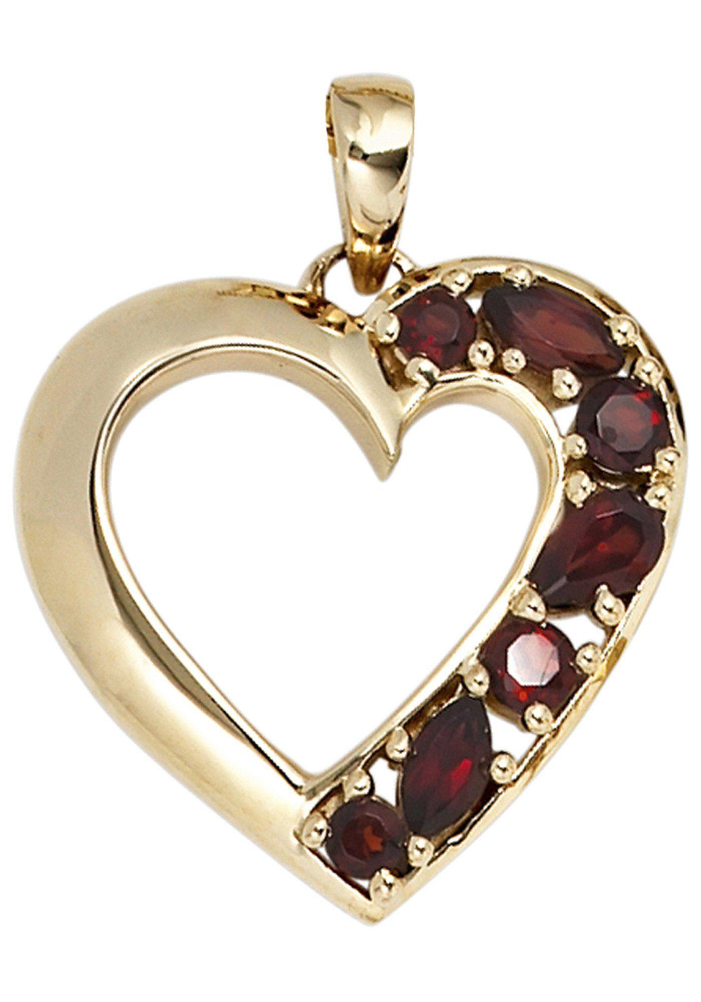 JOBO Herzanhänger »Herz« 585 Gold mit 7 Granaten