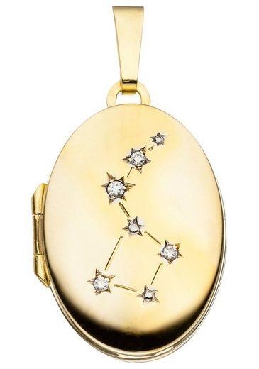 JOBO Medallionanhänger »Medaillon«, oval 333 Gold mit Zirkonia
