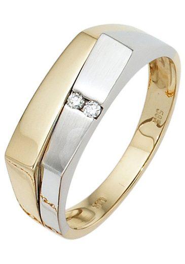 JOBO Diamantring, 585 Gelbgold Weißgold mit 2 Diamanten