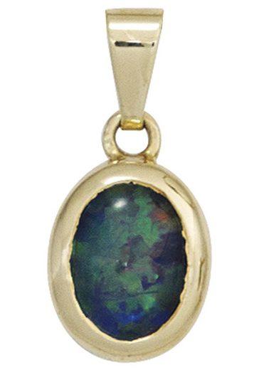 JOBO Kettenanhänger, oval 585 Gold mit Opal-Triplette