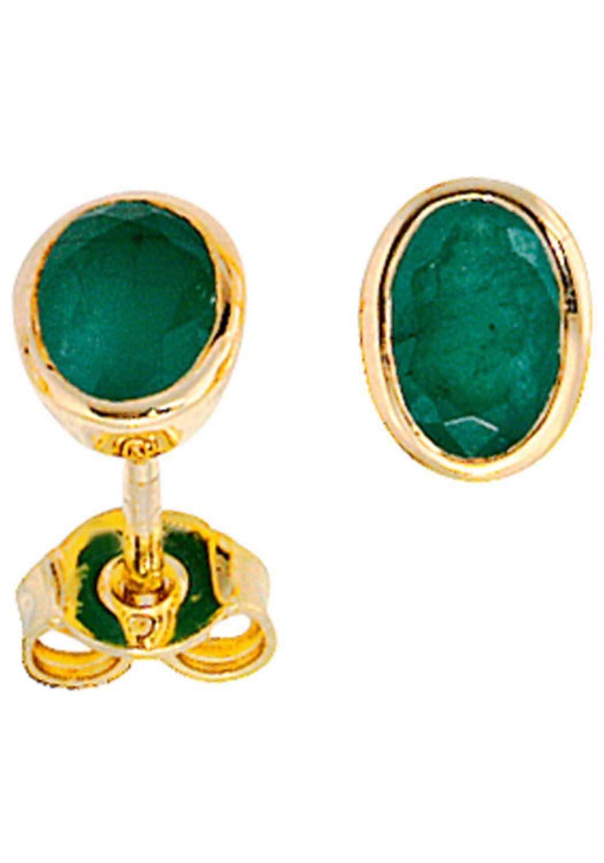 JOBO Paar Ohrstecker oval 585 Gold mit Smaragd